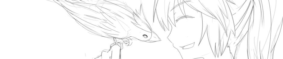 鳥と会話していそうな少女