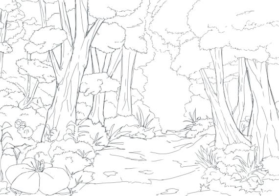 森背景線画
