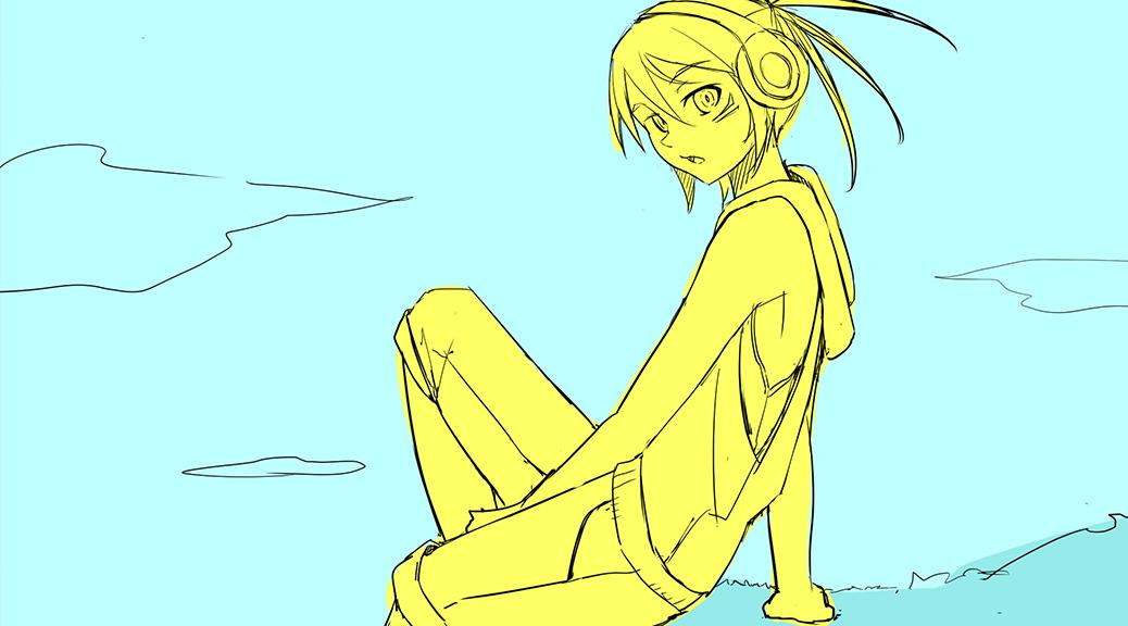 崖っぷちに座る少女と一輪の花